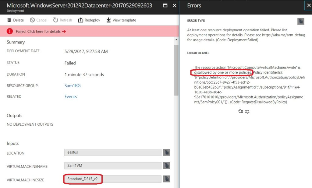 azure screenshot error policy
